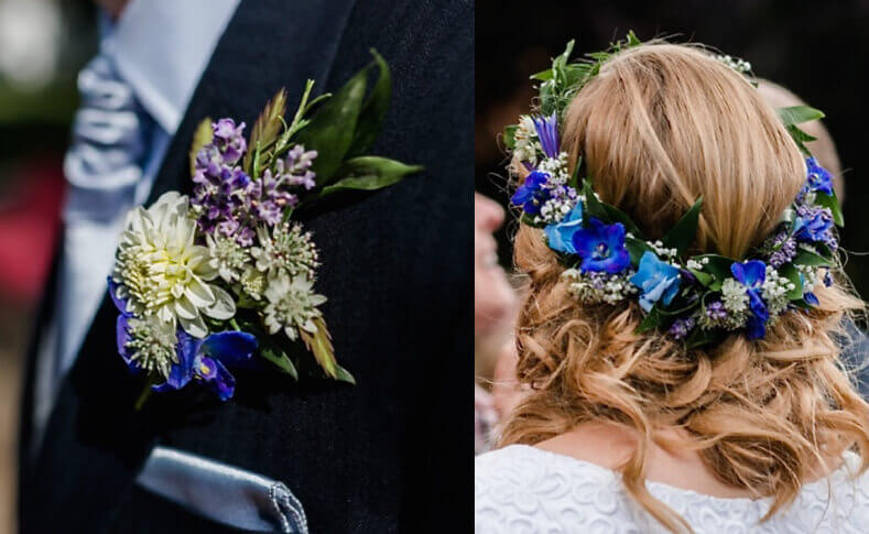 Hochzeit Gareth und Romy Haarkranz Anstecker