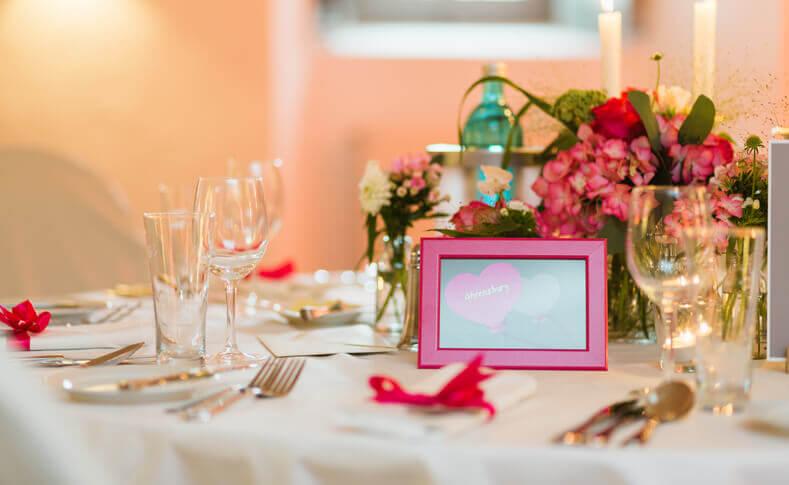 Hochzeit Tina und Flemming Tischdekoration